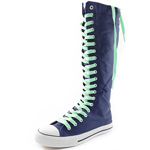 DailyShoes Womens Canvas Mid Calf Tall Boots Casual Sneaker Punk Flat, Navy Blue Boots, Perfect Green Lace