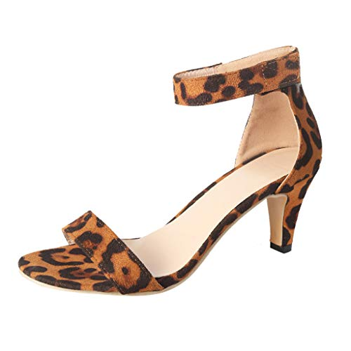 Cenglings Sandals,Women's Open Toe Leopard Print Low Stiletto Heel Pumps Ankle Strap Roman Shoes Shallow Slip On Sandals