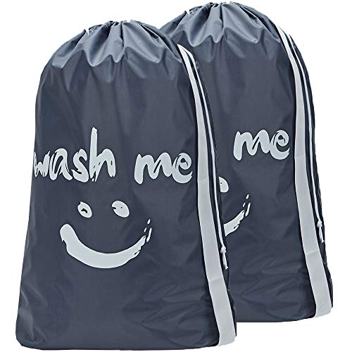 HOMEST 2 Pack Travel Laundry Bag with Strap, 28 x 40 Inches Wash Me Drawstring Dirty Clothes Bag, Large Hamper Liner, Rip-Stop Nylon, Machine Washable, Grey¡