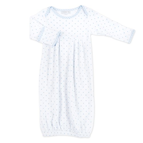 Magnolia Baby Baby Boy Gingham Dots Essentials Gown Blue
