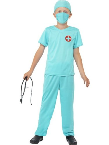[Blue Surgeon Scrubs Kids Costume] (Emergency Services Fancy Dress Costumes)