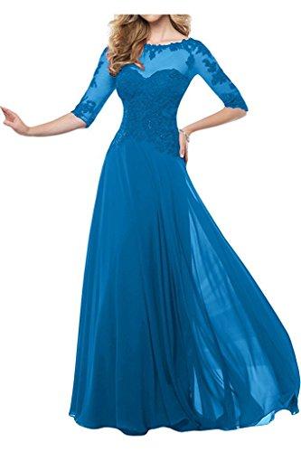 Blau Dunkel Festlichkleider Etui Spitze Brautmutterkleider Charmant Damen Blau Bodenlang Abendkleider Langarm Damen qEzw5U