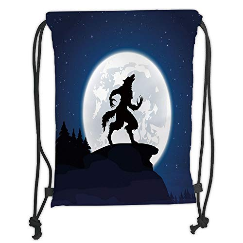 New Fashion Gym Drawstring Backpacks Bags,Wolf,Full Moon Night Sky Growling Werewolf Mythical Creature in Woods Halloween,Dark Blue Black White Soft Satin,Adjustable String Closur -