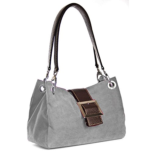 Shoulder Bag Real Light Leather Grey Aossta Italian Handbags Women Suede 61qwZfPO