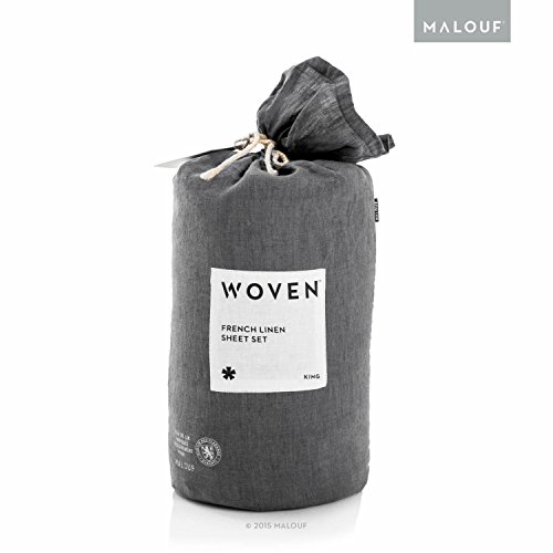 WOVEN Soft, Light French Linen Sheet Set with Vintage Wash-Queen-Charcoal