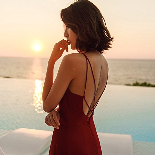Jupe Red Plage de Rouge Sling Robes Sexy 55kg Beach par l'image 45 MiGMV Robe Robe la Exemple Robe en Vacances Dos Mousseline de 160 S 170cm Couleur zYFSPq