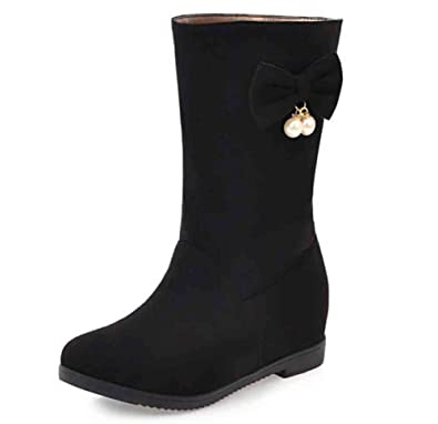 Women's Elegant Bowknot Round Toe Slip On Mid Hidden Heel Mid Calf Boots