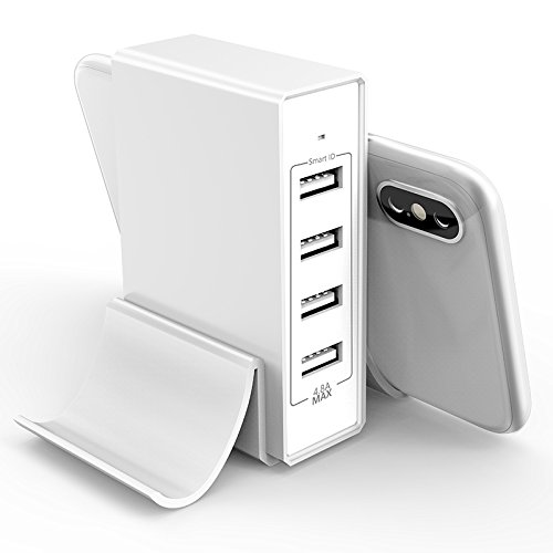 4-Port USB Charger Desktop Charger Charging Station with Phone Holder Double Stand for iPhone X/8/7/6S/6S Plus, iPad Pro/Air 2/mini2, Samsung Galaxy/Note, LG, Nexus, HTC and More - Station Charger Stand