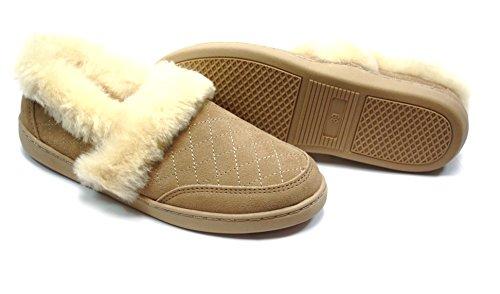 Lammfell Pantoffel slipper Damen Hausschuhe mit Australischen Lammfell, beige - sand mit beigen Fell mit elastischer comfort Sohle, dekorativer Stickerei - sehr warm