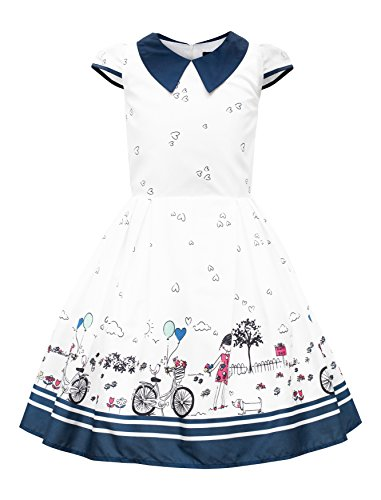 BlackButterfly Kids 'Olivia' Vintage Sunshine 50's Children's Girls Dress (White, 11-12 YRS)