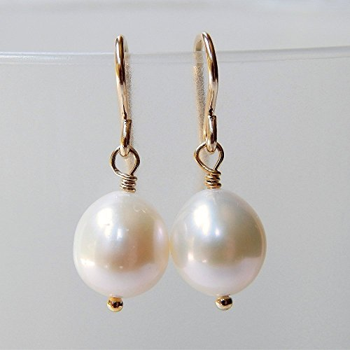 Cultured Freshwater Pearl Drop Earrings Gold Filled