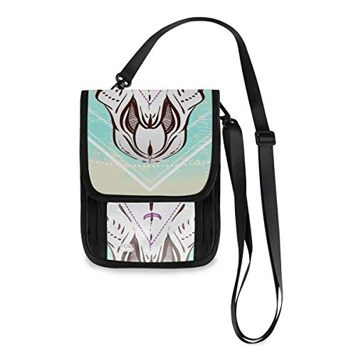 Ethnic Native American Design Bull Skull Traveling Phone Pouch Custom Lightweight Neck Wallet Pouch With A Long Strap Neck Wallets For Girls Passport Wallet For Kids (Neck Pouch Native American)