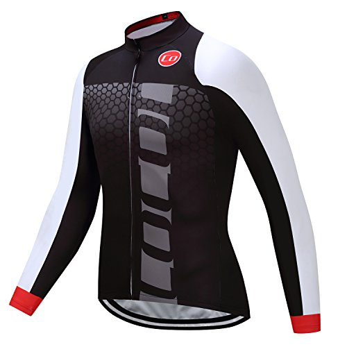 - Coconut Ropamo Men's Long Sleeve Cycling Jersey Bike Shirt Bicycle Clothing Breathable (M, Black&White)