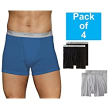 Fruit of the Loom Men's 4Pack Black & Grey Trunk Boxer Briefs Underwear