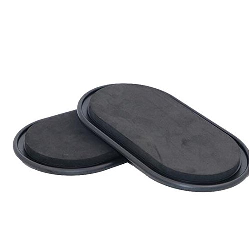 Genmine Sport Core Sliders Exercise Sliders Gym Training Gliding Discs Fitness Slide Discs Core Fitness Slider For Hard Floors and Carpet Full Body Workout, Compact for Travel or Home (Black) by Genmine
