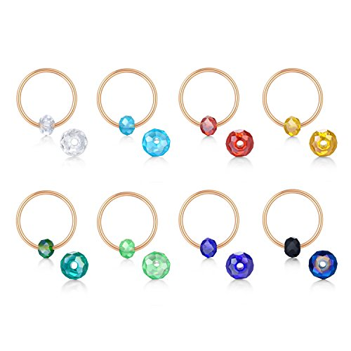 Briana Williams Captive Beads Ring CBR Septum Rings Cartilage Earring Surgical Steel Hoop Earrings-8pcs 18G Surgical Steel Piercing ()