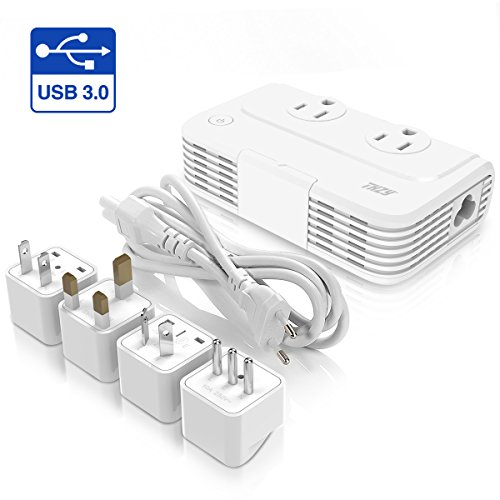 Voltage Converter 220V to 110V With 4 USB Ports [Include One 3.0 Quick Charge] THZY International Travel Adapter with 3 AC Outlets and UK/AU/US/EU Worldwide Plug Adapter–Use for US Appliances Oversea
