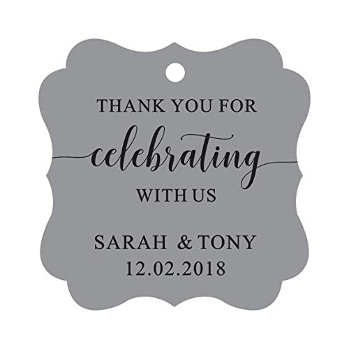 Darling Souvenir Fancy Frame Custom Paper Tags Thank You For Celebrating With Us Wedding Favor Gift Hang Tags-Gray-100 Tags