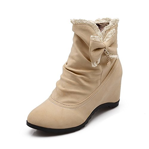 VogueZone009 Women's Low-top Solid Pull-on Round Closed Toe Kitten Heels Boots, Beige, 38 by VogueZone009 (Image #1)