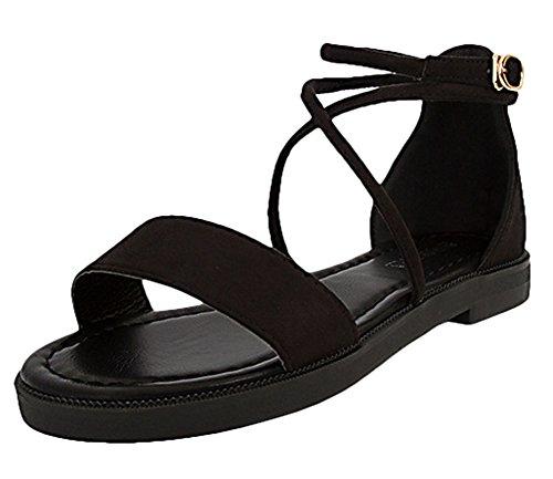 Scothen Sandalias de punta abierta de la Mujer T-Brace para mujer sandalias flip flop zapatos planos del verano del estilo de Bohemia diamantes de imitación del tobillo Trenzado T-Correa sandalias Black