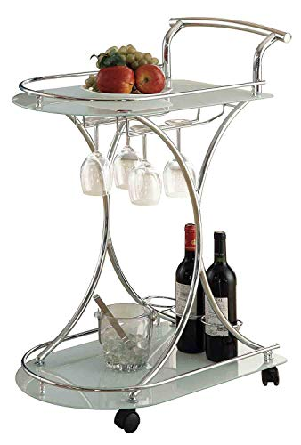 Serving Cart with 2 Frosted Glass Shelves Chrome and White (Cart Glass Bar Round)