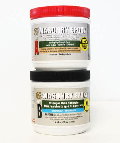 PC Products PCMasonry Epoxy Adhesive Paste TwoPart Repair 32oz in Two Jars Gray 73209