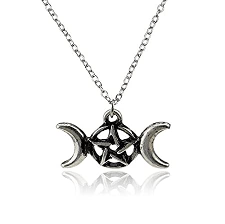 Norse Viking Runic Amulet Necklace Moon Pentagram Pendant Charms Necklace Girl gift GYPO
