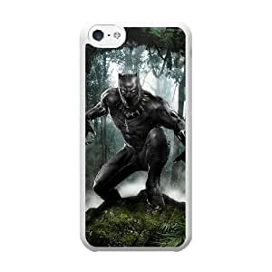 Grouden R Create and Design Phone Case,Cartoon-Black Panther Cell Phone Case for iPhone 5C White + Tempered Glass Screen Protector (Free) GHL-2977176