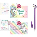 Unicorn Party Invitation Postcards and Thank You Cards Bundled with 1 Unicorn Pen (Random Color) for Birthday Party, Baby Shower Invite for Any Occasion