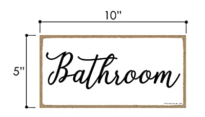 Honey Dew Gifts Bathroom Sign in White - 5 x 10 inch Hanging, Wall Art, Decorative Wood Sign Home or Office Bathroom Door Decor