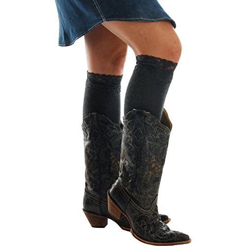 M&F Western Women's Blazin Roxx Fashion Sock Grey Lace Socks MD (5-7.5)