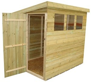 wooden garden shed 8x8 pent shed pressure treated tanalised 3 windows - Garden Sheds 8x8