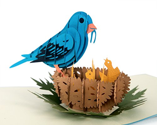 CUTPOPUP | Bluebird 3D Pop-Up Greeting Card | Intricate Design of Bluebird on Nest Makes a Lovely Gift Card | With ()