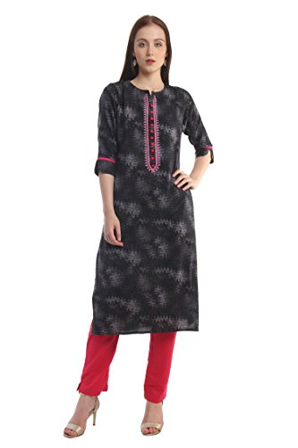 "Designer Salwar Kurta - Lagi Designer Rayon Straight Kurti for Women Printed Tunic Top Round Collar ¾ Th Sleeve Dress"" (M-40)"