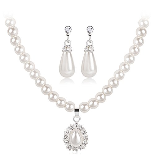 Hbinydepial Royal Style Princess Imitation Pearl Teardrop Pendant Elegant Necklace Earrings