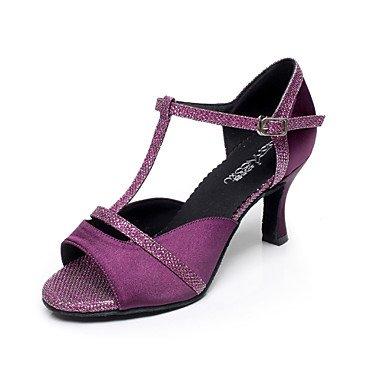 Misteriosa directa @ de la mujer latina/Salsa Zapatos de baile talón de satén de mecánico negro/morado morado