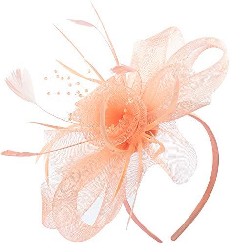 Women Wedding Fascinator Hats Tea Party Headband Fascinators Kentucky Derby Headwear Cocktail Feather Hair Clip (Coral)