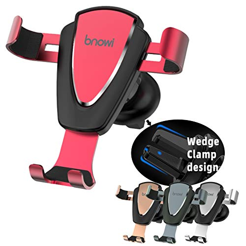 Wedge Clame Phone Holder Air Vent Phone Mount Single Hand Operation for iPhone 7/Plus Samsung Universal Smartphone (Red)