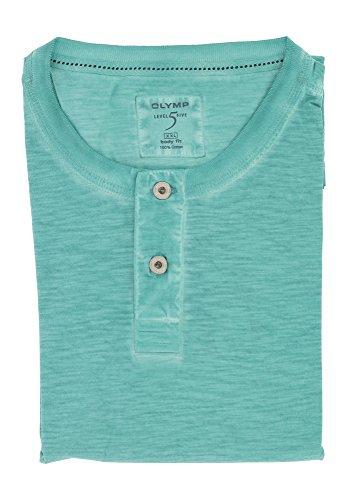 OLYMP Herren Henley T-Shirt aus der Serie Level Five | Body Fit mit Rundhals & Brusttasche | 100% Baumwolle | Gr. XXL Türkis
