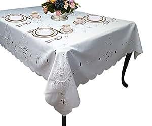 Beautiful Violet Linen Riviera Embroidered Design Oblong/Rectangle Tablecloth,  70u0026quot; X 120u0026quot;,