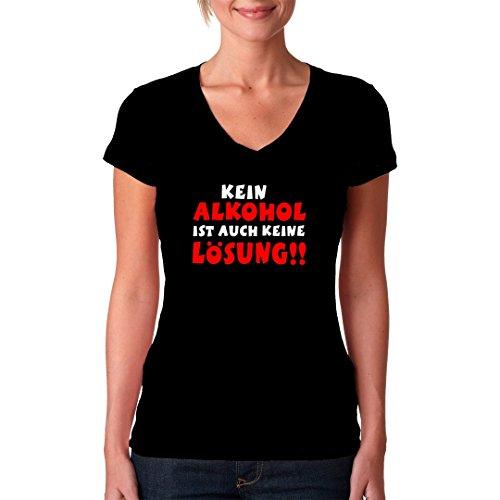 Fun Sprüche Girlie V-Neck Shirt - Alkohol Lösung by Im-Shirt Schwarz