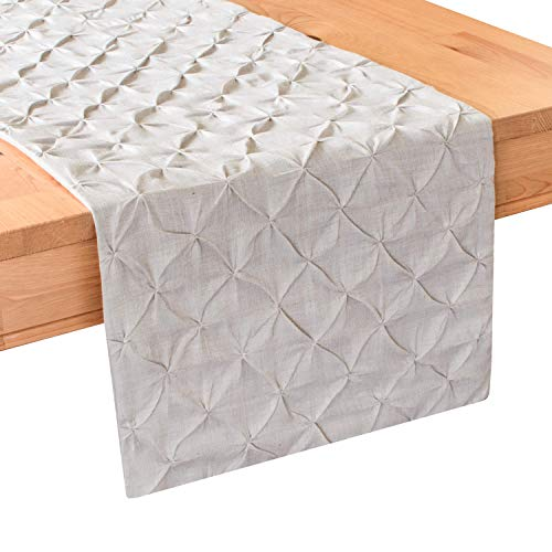 (The White Petals Natural Oatmeal Dining Table Runners (14x80 inch, Pack of 1) |Natural Oatmeal Color | Fabric Lined | for Home, Kitchen, Dining Room, Holidays, Wedding Party Décor)