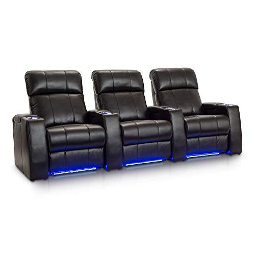 (Seatcraft Sonoma Home Theater Seating Power Recline Leather Gel with Adjustable Powered Headrests (Black, Row of 3))
