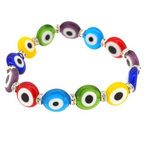 Fashion Multicolor Turkish Evil Lucky Eye Murano Glass Bead 12mm Bracelet with Crystal ()