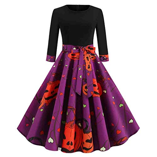 Baby Air Freshener Costume (Midress Women Halloween Dress Round Neck Long Sleeve Retro Pumpkin Print Dress Party Casual Swing Dress Halloween)