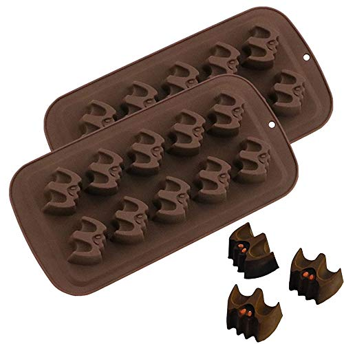 Halloween Candy Bats (2Pack Halloween Bat Chocolate Candy Molds, Bat Silicone Fat Bomb Gummy Mini Soap Crayon Melt Mould Ice Cube Trays Halloween Party Favor Decoration)