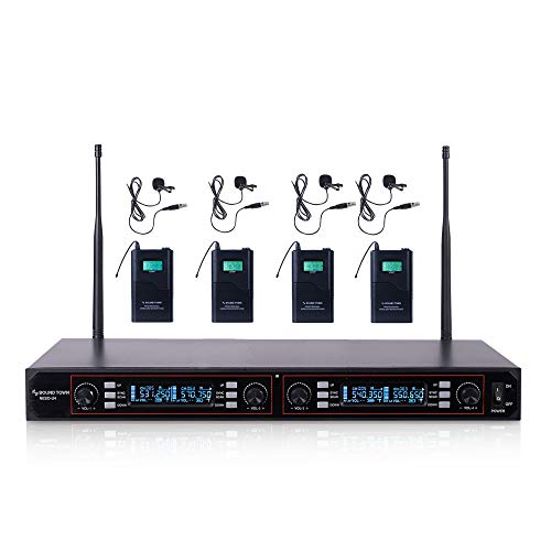 Sound Town 200-Channel Rack Mountable Professional UHF Wireless Microphone System with Metal Receiver, 4 Lavalier Mics, 4 Bodypack Transmitters (NESO-U4LL)