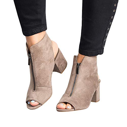 Summer Tan Open Back Liyuandian Y Booties Fold Ankle Toe Womens Heels Zipper q5ZxpUn