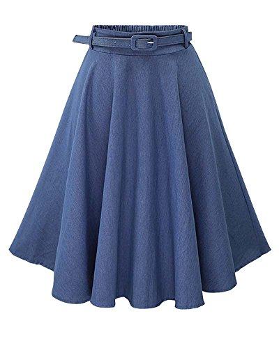 Mujer Faldas Vaquera Cintura Alta Falda Plisada Corto Con Cinturón Zarco Zarco