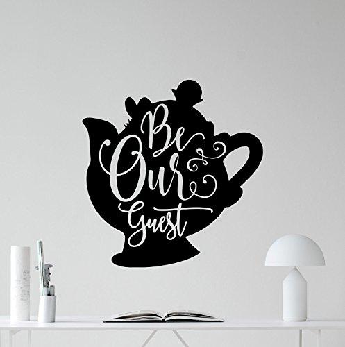 (Be Our Guest Wall Decal Beauty and The Beast Walt Disney Quote Kettle Teapot Gift Vinyl Sticker Print Wall Art Design Baby Room Kids Decor Children Nursery Poster Custom Mural 142bar)